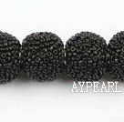 bali beads,20mm, black with glass, Sold per 16.14-inch strand