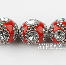 bali beads,20mm,red with Rhinestone,copper core ,sole per strand , about 14.17inches