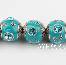 bali beads,18mm,cyan with Rhinestone ,Sold per 14.17-inch strands