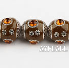 bali beads,18mm,brown with Rhinestone ,Sold per 14.17-inch strands