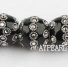 bali beads,22mm,black with Rhinestone ,Sold per 14.17-inch strands