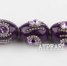 bali beads,18*22mm,purple with Rhinestone ,Sold per 13.39-inch strands
