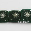 bali beads,10*22mm square,green with copper core ,Sold per 13.39-inch strand