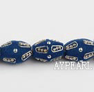 Frosted bali beads,16*22mm barrel, blue,Sold per 14.17-inch strand