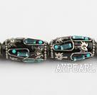 Indonesia beads,18*32mm barrel, black,Sold per 14.17-inch strands