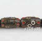 bali beads,18*32mm tube ,multi color,Sold per 12.99-inch strand