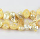 Pearl Beads, Light Yellow, 7*15mm dyed uncoating, Sold per 15.7-inch strand