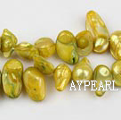 Pearl Beads, Yellowish Green, 7*15mm dyed uncoating, Sold per 15.7-inch strand