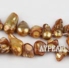 Pearl Beads, Amber Color, 7*15mm dyed uncoating, Sold per 15.7-inch strand