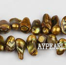 Pearl Beads, Bronze, 7*15mm dyed uncoating, Sold per 15.7-inch strand