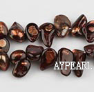 Pearl Beads, Dark Brown, 7*15mm dyed uncoating, Sold per 15.7-inch strand