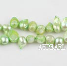 Pearl Beads, Fruit Green, 7*15mm dyed uncoating, Sold per 15.7-inch strand