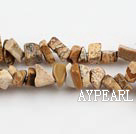 Chip Stone Beads, 3*5mm picture stone, Sold per 35.4-inch strand