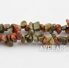 Green Piebald Stone chips ,3*7mm, sold per 35.43-inch strand