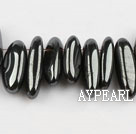Agate Gemstone Beads, Black, 4*19mm hematite, long tooth, hole shape, Sold per 15.7-inch strand