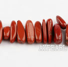 Marble Gemstone Beads, Red, 4*21 long tooth, hole shape, Sold per 15.7-inch strand