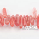 Watermelon Crystal Gemstone Beads, 4*21 long tooth, hole shape, Sold per 16-inch strand