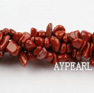 Chip Stone Beads, Red, 3*7mm Marble circle angle, Sold per 34.6-inch strand