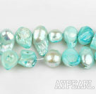 Pearl Beads, Lake Blue, 7*15mm dyed keshi, Sold per 15.7-inch strand