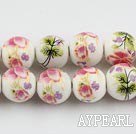 Porcelain Beads, Colorful, 12mm stampled flower, Sold per 15.4-inch strand
