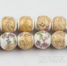 Porcelain Bead, Colorful, 14mm stamped flower, Sold per 15-inch strand