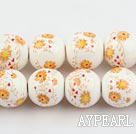 Porcelain Beads, Colorful, 14mm stampled flower, Sold per 15-inch strand