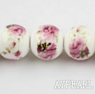 Porcelain Bead, Colorful, 16mm stamped flower, Sold per 15-inch strand