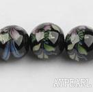 Porcelain Bead, Black, 18mm stamped flower, Sold per 14.2-inch strand
