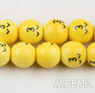 Porcelain Bead, Yellow, 14mm lovely expression, Sold per 15-inch strand