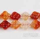 Agate Gemstone Beads, Orange, 10mm cross plum blossom,Sold per 14.96-inch strands