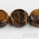 Tiger Eye Gemstone Beads, 8*22mm pattern round disk shape,Sold per 15.75-inch strands