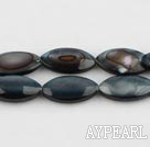 Shell Beads, Black, 5*8*13mm dyed horse eye shape, Sold per 15.4-inch strand