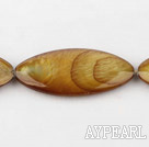 Shell Beads, Brown, 3*15*35mm dyed horse eye shape, Sold per 15-inch strand