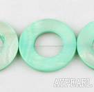 Shell Beads, Light Green, 25mm dyed ring shape, Sold per 15.7-inch strand