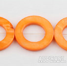 Shell Beads, Orange, 25mm dyed ring shape, Sold per 15.7-inch strand