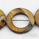 Shell Beads, Brown, 3*30mm dyed hollow out shape, Sold per 15-inch strand