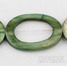 Shell Beads, Olive green, 3*25*35mm fresh water, hollow out egg shape, Sold per 15-inch strand