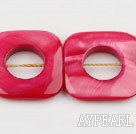 Shell Beads, Pink, 25*25mm fresh water, hollow out square shape, Sold per 15.7-inch strand