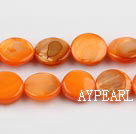 Shell Beads, Orange, 10mm dyed round,Sold per 14.96-inch strand