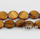 Shell Beads, Dark Amber Color, 10mm dyed round,Sold per 14.96-inch strand