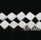 Shell Beads, White, 8*8mm dyed opposite angles , Sold per 15-inch strand