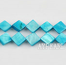 Shell Beads, Turquoise Blue, 8*8mm dyed opposite angles , Sold per 15-inch strand