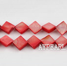 Shell Beads, Red, 8*8mm dyed opposite angles , Sold per 15-inch strand