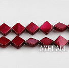 Shell Beads, Wine Red, 8*8mm dyed opposite angles , Sold per 15-inch strand