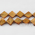 Shell Beads, Dark Amber Color, 10*10mm dyed opposite angles , Sold per 15-inch strand