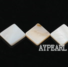 Shell Beads, White, 15*15mm opposite angles , Sold per 15-inch strand