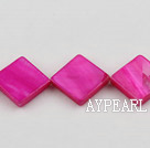 Shell Beads, Purplish Red, 15*15mm dyed opposite angles , Sold per 15-inch strand