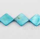 Shell Beads, Blue, 15*15mm dyed opposite angles , Sold per 15-inch strand
