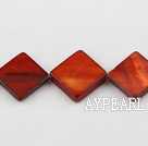 Shell Beads, Reddish Brown, 15*15mm dyed opposite angles , Sold per 15-inch strand