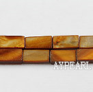 Shell Beads, Brown, 7*12mm dyed rectangle, Sold per 15-inch strand